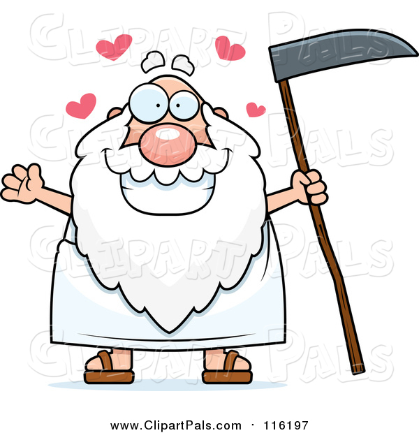 Pal Clipart of a Loving Father Time Man Holding a Scythe