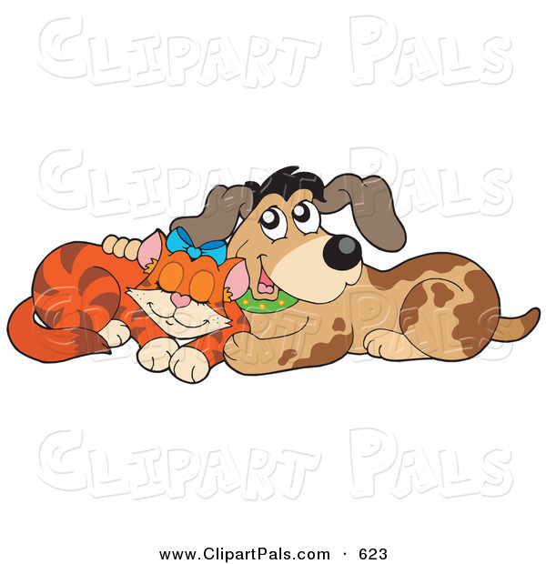 Pal Clipart of a Marmalade Cat and Dog Cuddling on White