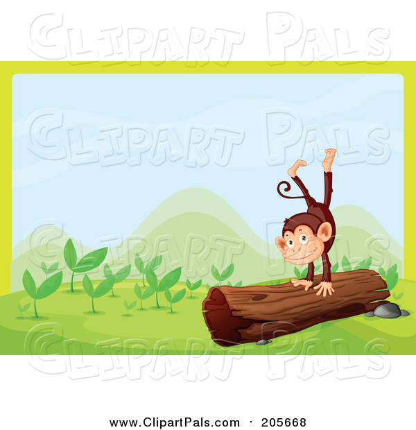 Pal Clipart of a Monkey Playing on a Log Border