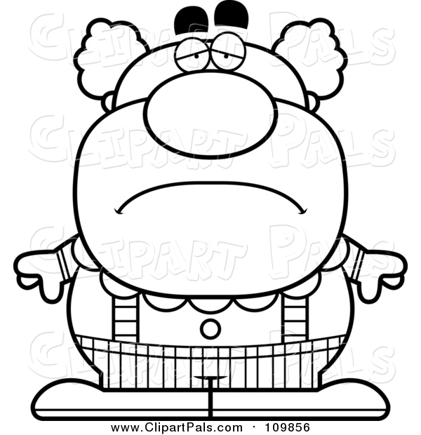 Pal Clipart of a Outlined Black and White Depressed Pudgy Circus Clown