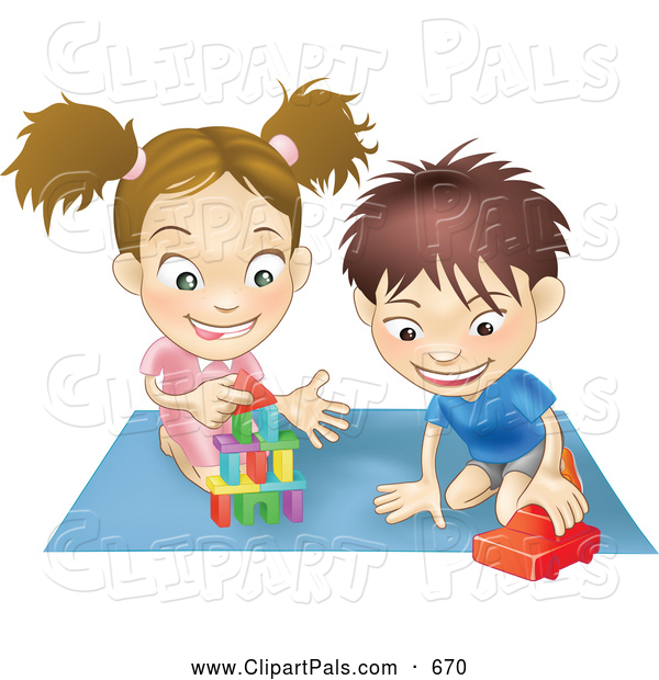 Pal Clipart of a Pair of Children - a White Boy and Girl Playing with Toys on a Floor Together