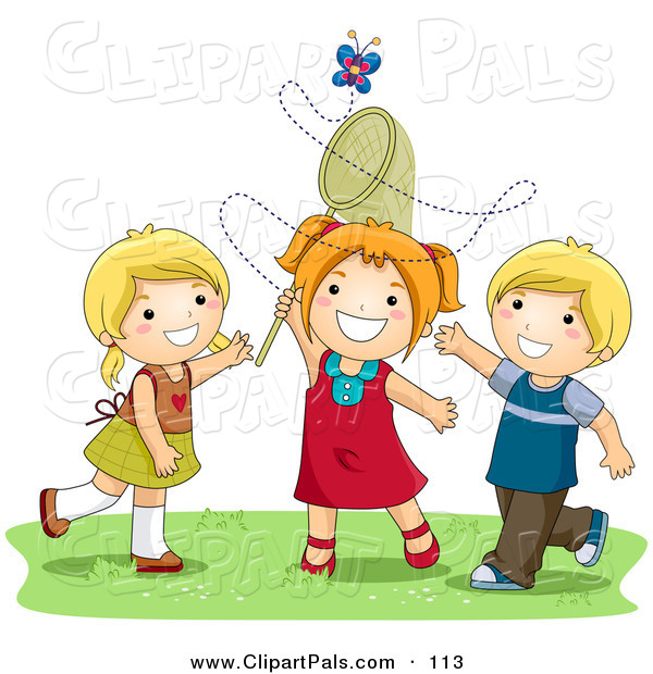 Pal Clipart of a Pair of Girls and a Boy Trying to Catch a Butterfly with a Net
