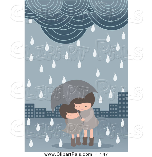 Pal Clipart of a Pair of Girls Under an Umbrella in a Spring Shower