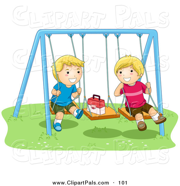 Pal Clipart of a Pair of Happy Boys Playing on Swings