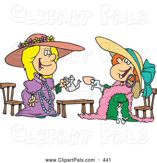 Pal Clipart of a Pair of Happy Girls Playing Dress up at Tea Time