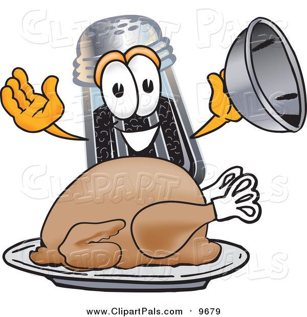 Pal Clipart of a Pepper Shaker Serving a Thanksgiving Turkey on a Platter