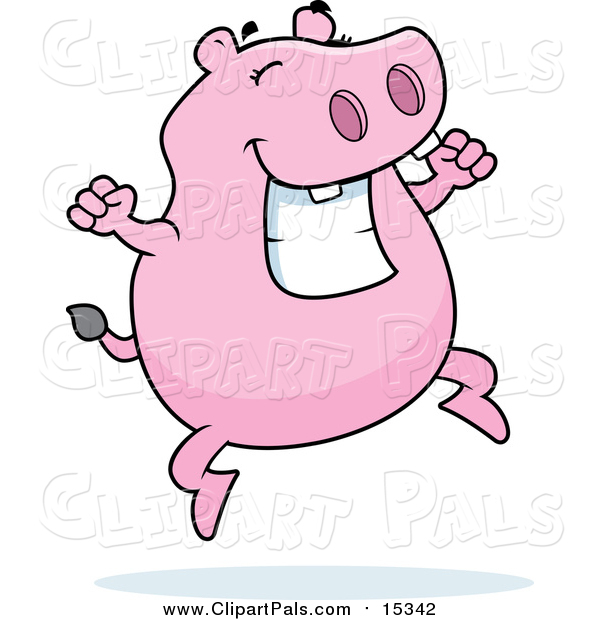 Pal Clipart of a Pink Hippo Jumping and Grinning