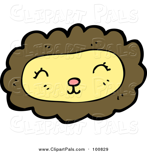 Pal Clipart of a Pleasant Yellow and Brown Lion Face