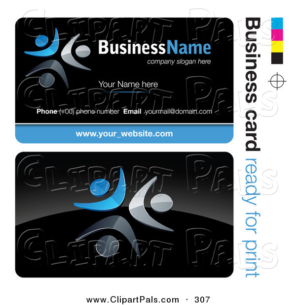 Pal Clipart of a Pre-Made Blue and White Dancer Business Card DesignPre-Made Blue and White Dancer Business Card Design