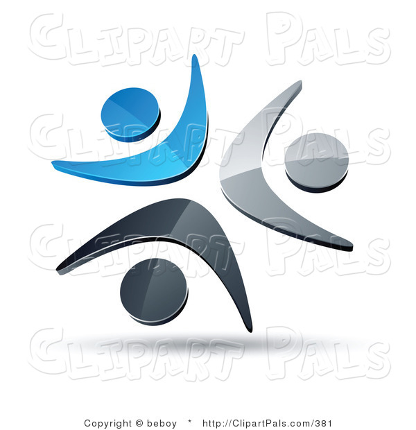 Pal Clipart of a Pre-Made Logo of a Trio of Blue, Chrome and Black People Celebrating or Dancing