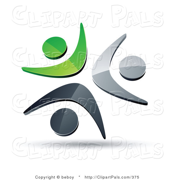 Pal Clipart of a Pre-Made Logo of Three Green, Silver and Black People Celebrating or Dancing