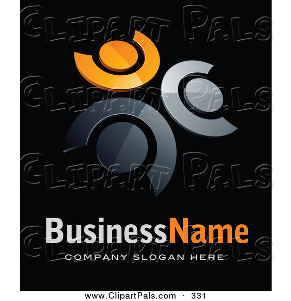 Pal Clipart of a Pre-Made Logo of Three Orange and Chrome People in a Circle, Above Space for a Business Name and Company Slogan on Black