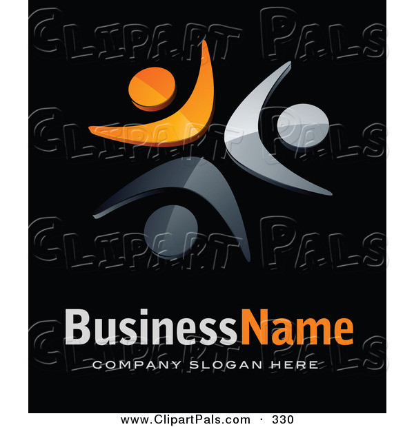 Pal Clipart of a Pre-Made Logo of Three Orange and Gray People, Above Space for a Business Name and Company Slogan on Black