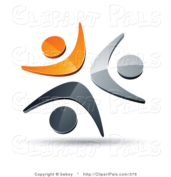 Pal Clipart of a Pre-Made Logo of Three Orange, Chrome and Black People Icons Celebrating or Dancing