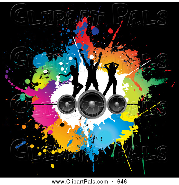 Pal Clipart of a Pretty Background of Silhouetted Dancers on Speakers over Colorful Splatters on Black