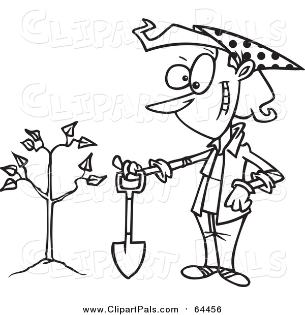 Pal Clipart of a Proud Girl After Planting Tree with Shoval - Black Outline