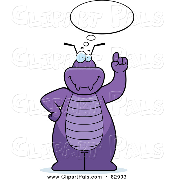 Pal Clipart of a Purple Bug Talking and Holding up a Finger