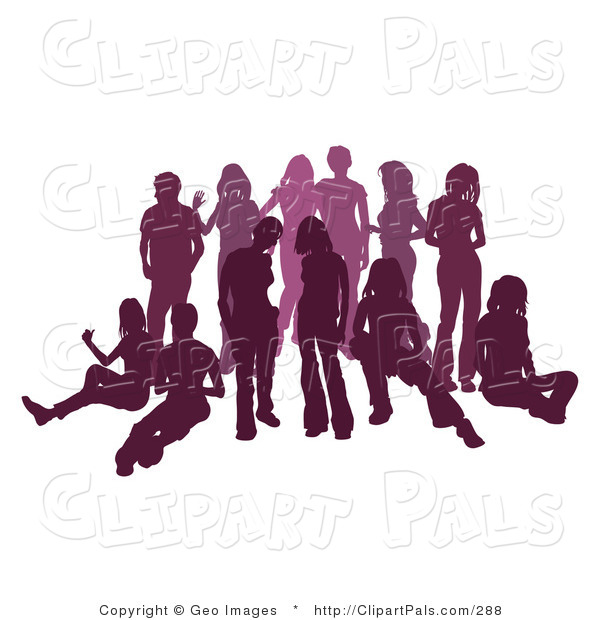 Pal Clipart of a Purple Group of Silhouetted People Hanging out and Relaxing in a Crowd
