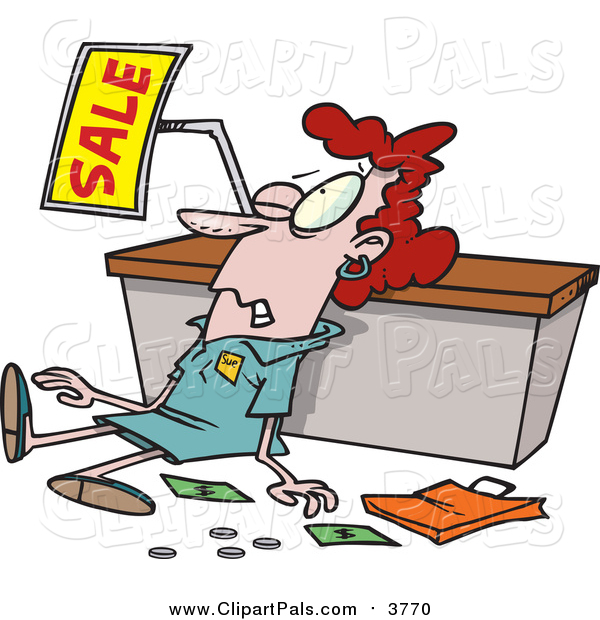 Pal Clipart of a Red Haired White Female Store Employee Trampled During a Sale