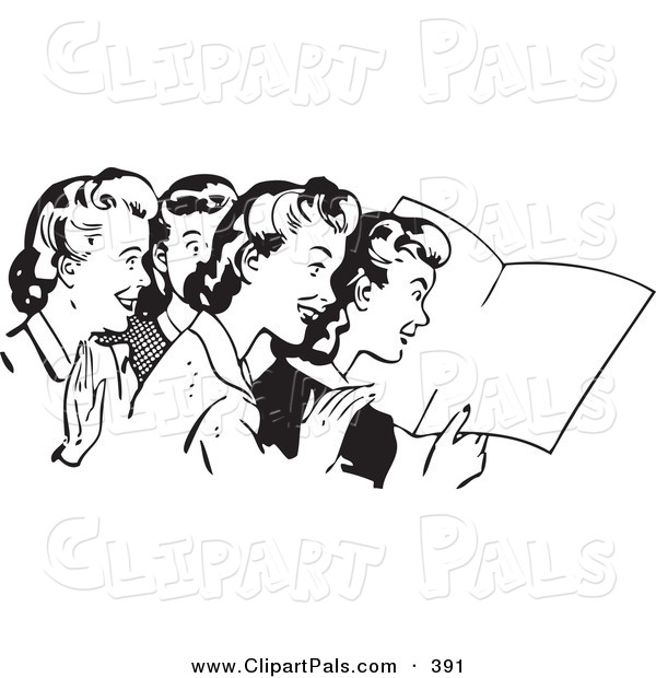 Pal Clipart of a Retro Black and White Outline of Women Reading a Book