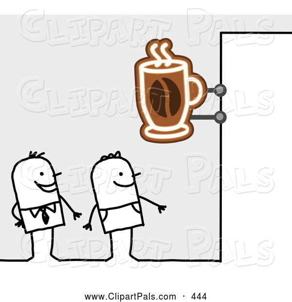 Pal Clipart of a Royalty-Free (RF) Clipart Illustration of Stick Figure Men Standing Under a Cafe Sign