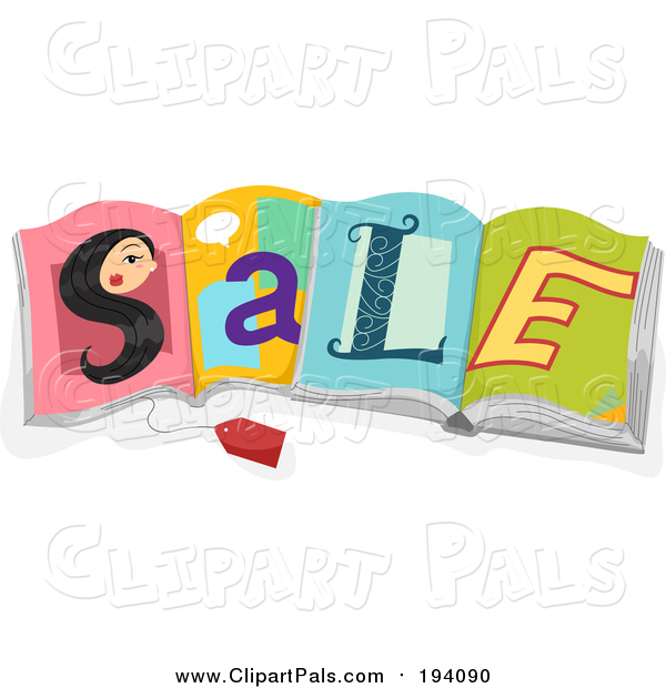 Pal Clipart of a Sales Tag and Womans Face S Spelling SALE on Open Books