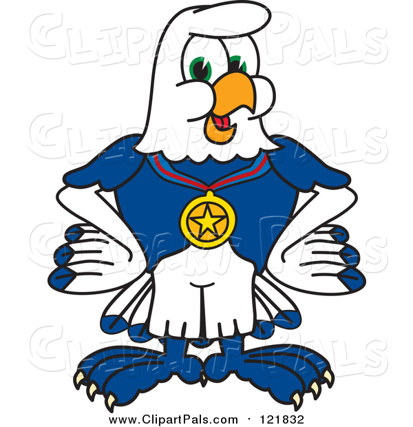 Pal Clipart of a Seahawk Sports Mascot Wearing a Medal