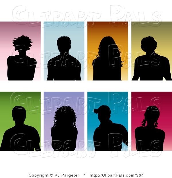 Pal Clipart of a Set of Eight Black Silhouetted Men and Women on Colorful Backgrounds