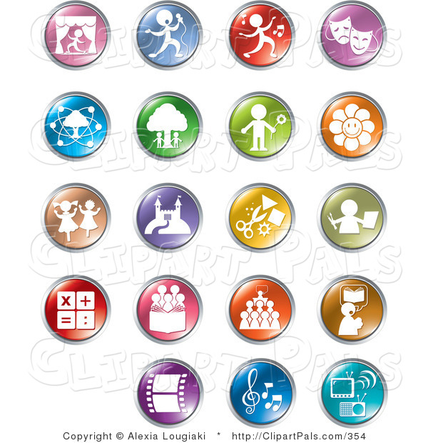 Pal Clipart of a Set of Ninteen Colorful Entertainment and Business Buttons on White