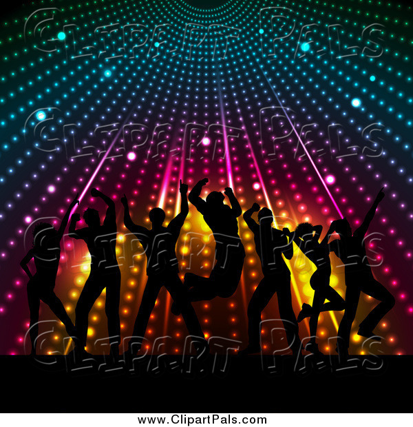 Pal Clipart of a Silhouetted Crowd Dancing Under Colorful Lights
