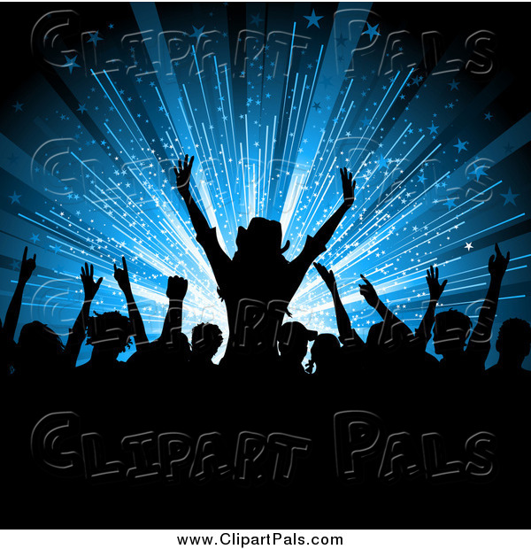 Pal Clipart of a Silhouetted Crowd of Fans over a Blue Burst