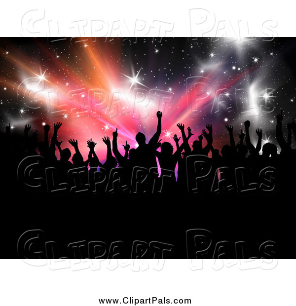 Pal Clipart of a Silhouetted Crowd over Stars and Bursts