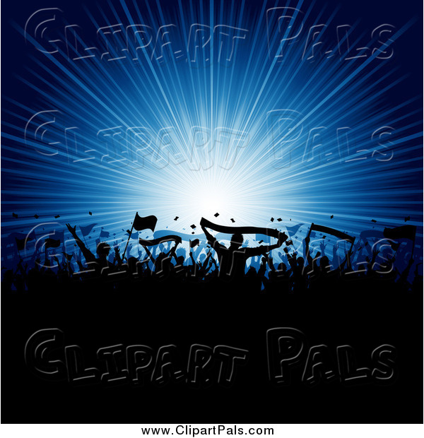 Pal Clipart of a Silhouetted Crowd with Flags and Banners Against a Blue Burst