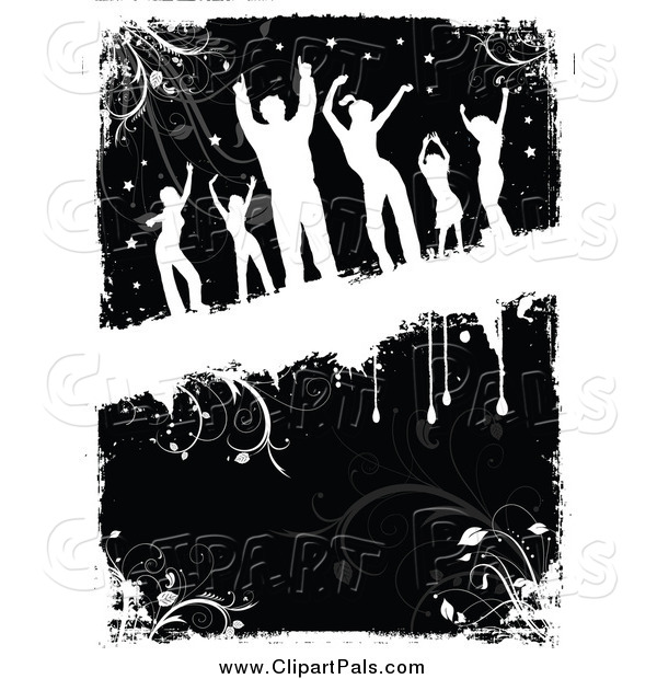 Pal Clipart of a Silhouetted Dancers over Black and White Grunge