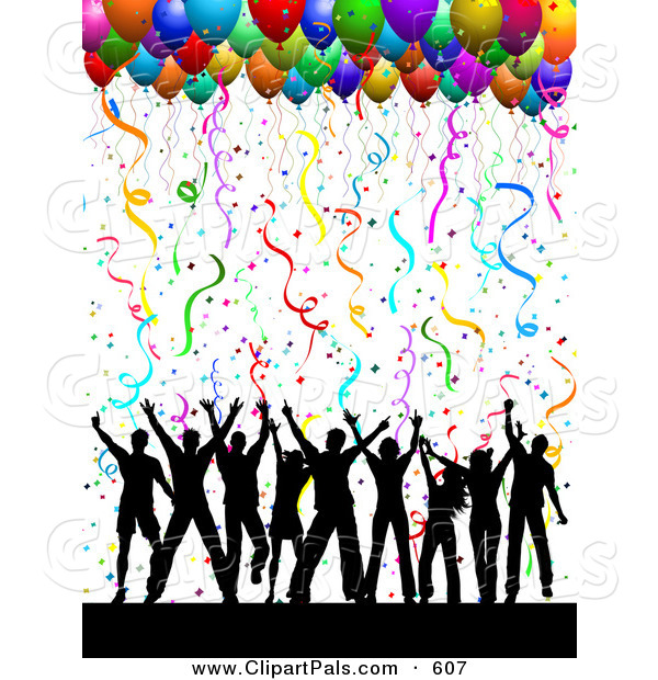 Pal Clipart of a Silhouetted Dancing Group Under Confetti and Party Balloons on Solid White