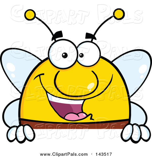 Pal Clipart of a Smiling Bee - Cartoon Style