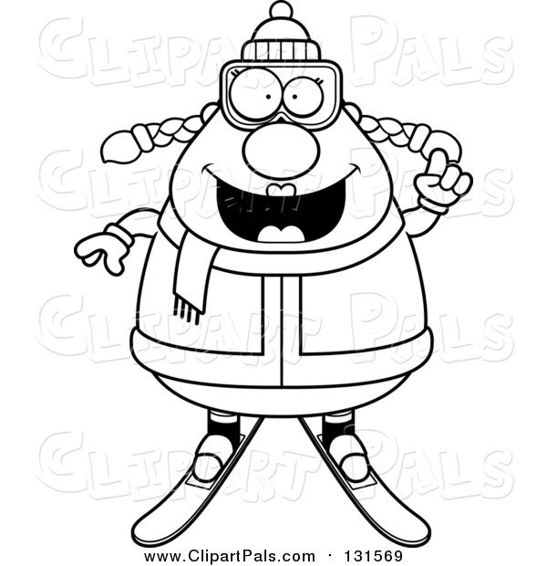 Pal Clipart of a Smiling Chubby Female Snow Skier - Black Outline Style