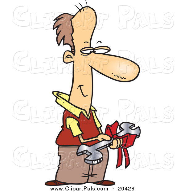 Pal Clipart of a Smiling Man Holding Tool Gift - Cartoon Style
