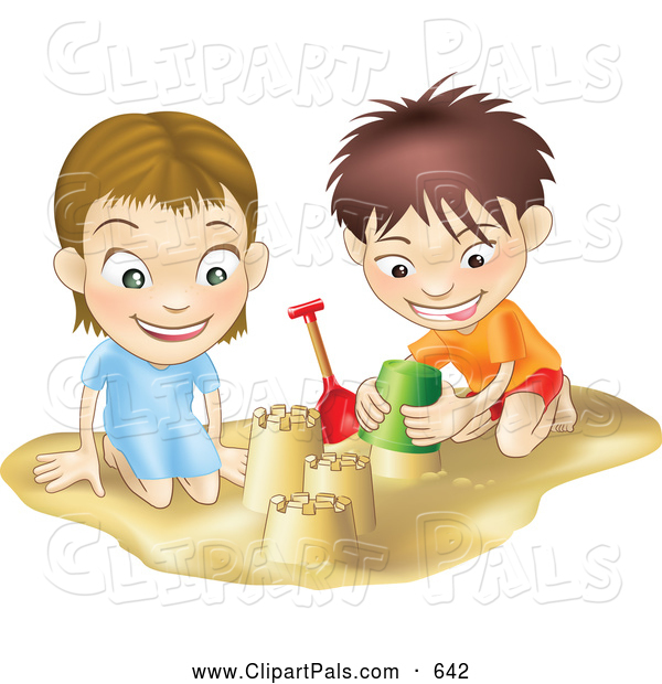 Pal Clipart of a Smiling White Boy and Girl Building Sand Castles Together