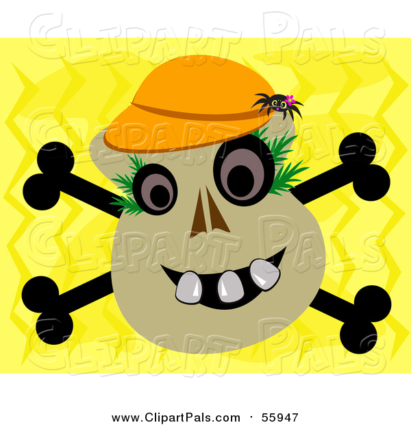 Pal Clipart of a Spider on a Skull and Crossbones