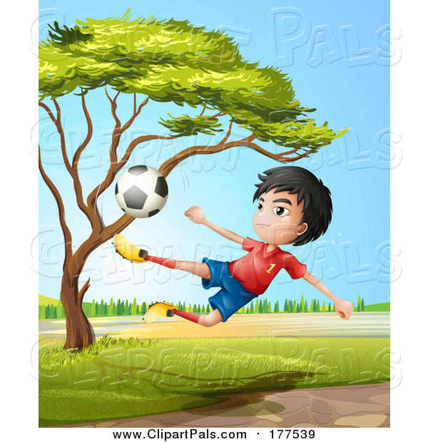 Pal Clipart of a Sporty Asian Boy Leaping and Kicking a Soccer Ball