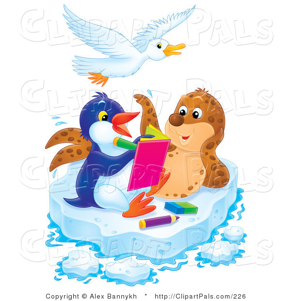 Pal Clipart of a Spotted Seal Posing for a Penguin Artist on a Sheet of Ice, a Bird Flying Above