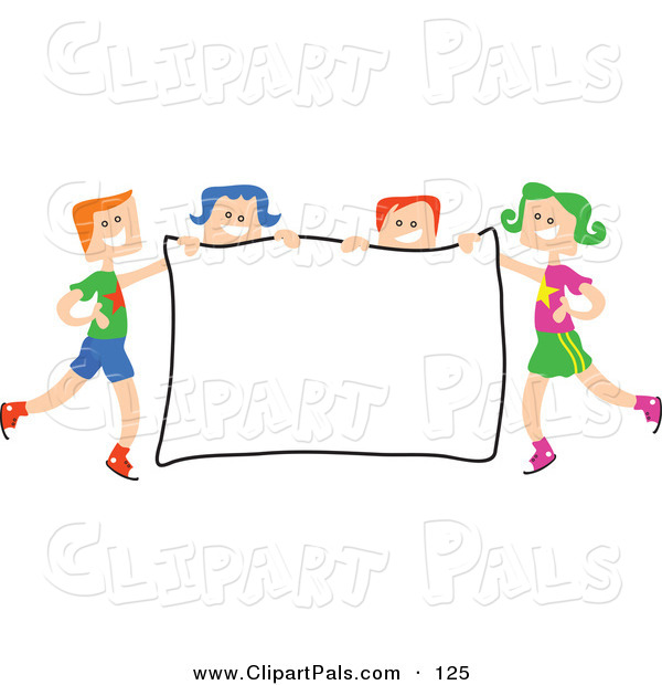 Pal Clipart of a Square Head Children Holding a Sign on White