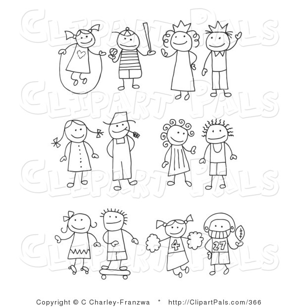 Pal Clipart of a Stick Figure Girl Juming Rope, Boy Playing Baseball, King, Queen, Farmer and Wife, Skating Girl, Skateboarding Boy, Cheerleader and Football Player