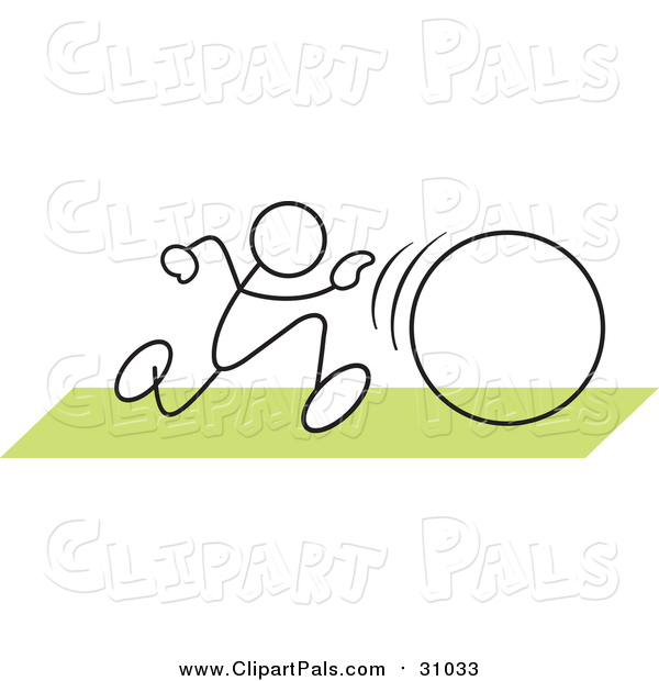 Pal Clipart of a Stick Man in a Hula Hoop Race over Green