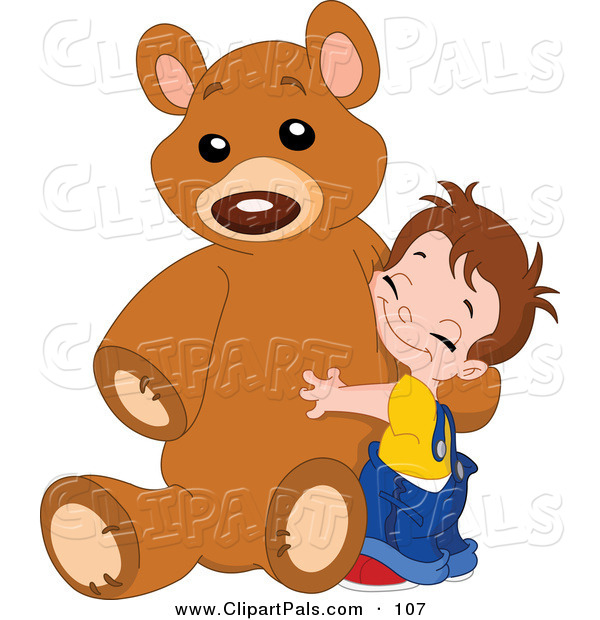 Pal Clipart of a Sweet Boy Hugging His Giant Brown Teddy Bear