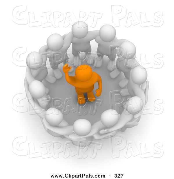 Pal Clipart of a Team of 3d Blanco Characters Surrounding an Anaranjado Man During an Intervention