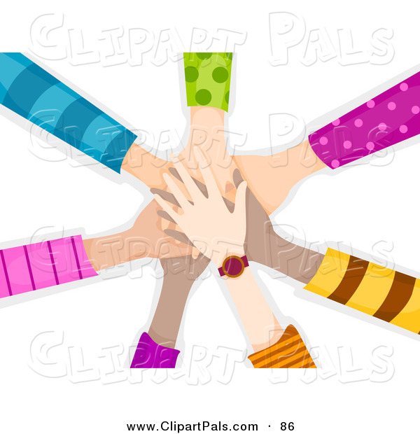 Pal Clipart of a Team of Children's Hands Piled While Making a Pact