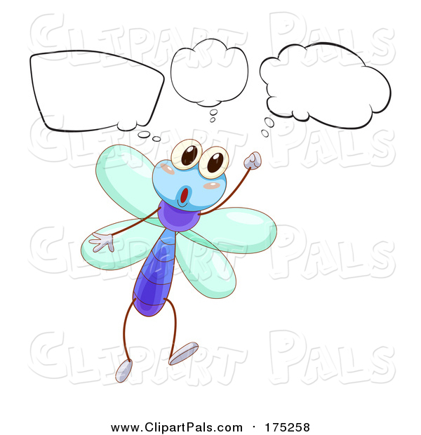 Pal Clipart of a Thinking Dragonfly