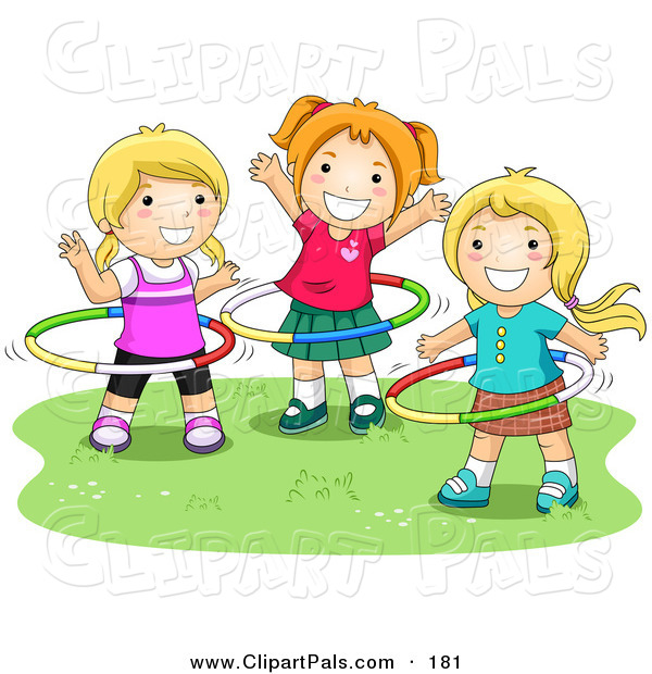 Pal Clipart of a Three Happy Young Girls Playing with Hula Hoops